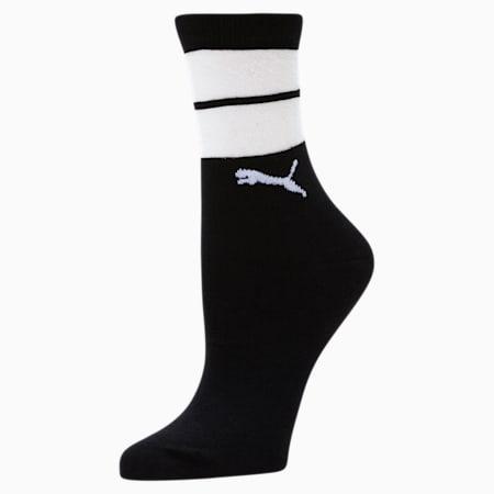 Women's Sheer Stripes Crew Socks [1 Pair], BLACK, small